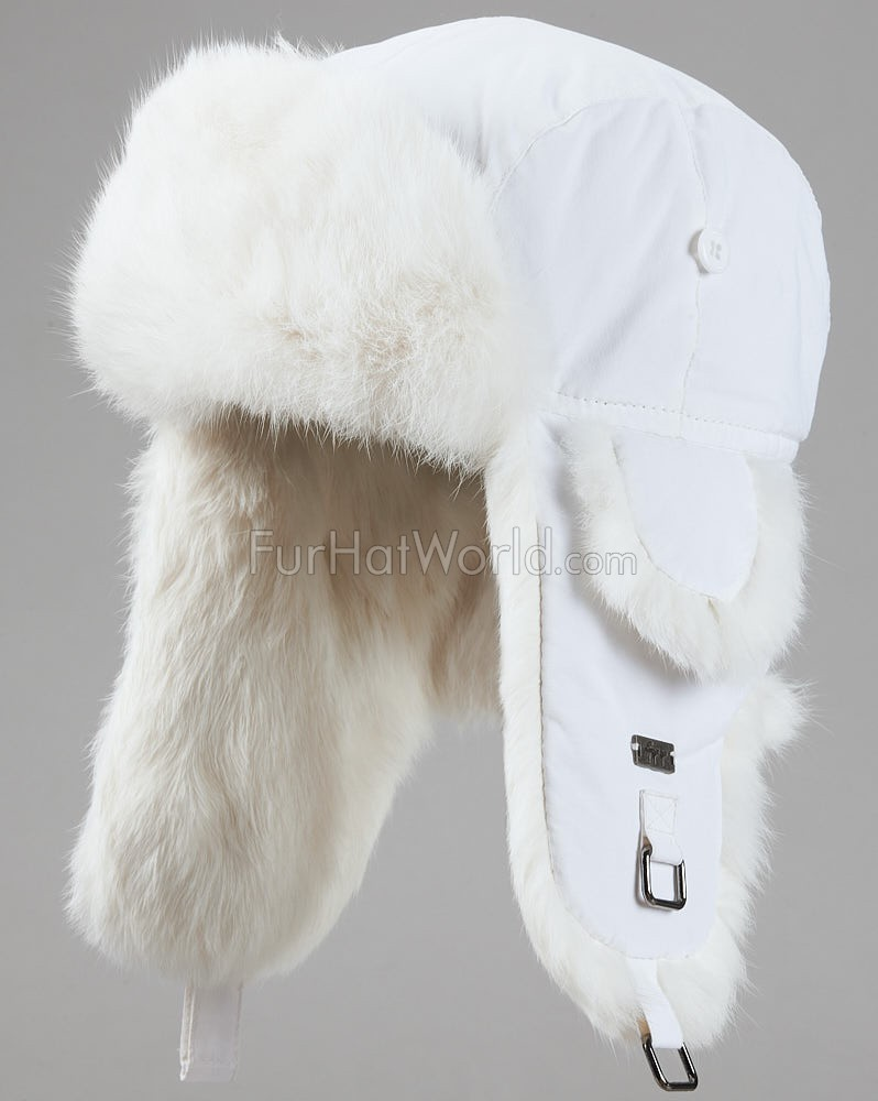 White B-52 Aviator Hat with White Rabbit Fur for Men