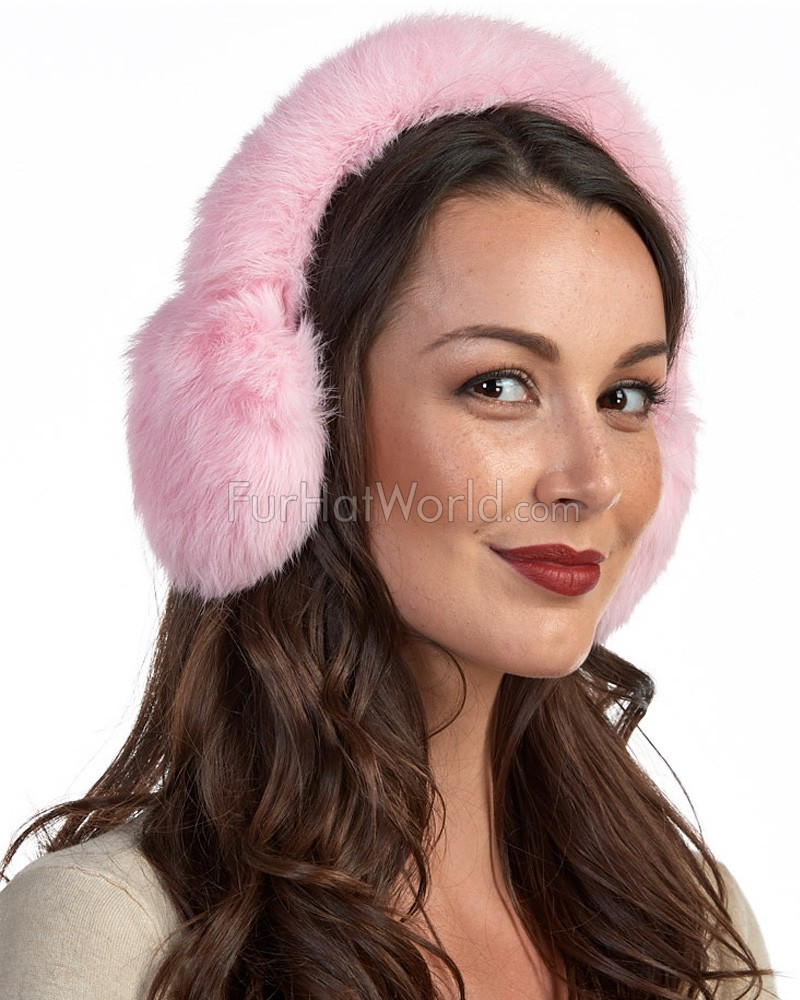 Rabbit Full Fur Earmuffs in Pink