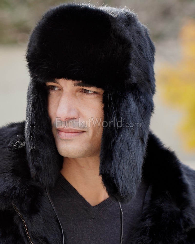 Quality made for frigid conditions, this Rabbit Full Fur Russian Ushanka Hat by FRR™ was crafted with your comfort in mind. Composed of plush, genuine rabbit fur, it features a full-fur exterior for the ultimate in warmth and protection. Reminiscent of a Russian trooper hat, this dyed black winter hat provides a quilted interior lining that is static resistant for all-day comfort while out /5().