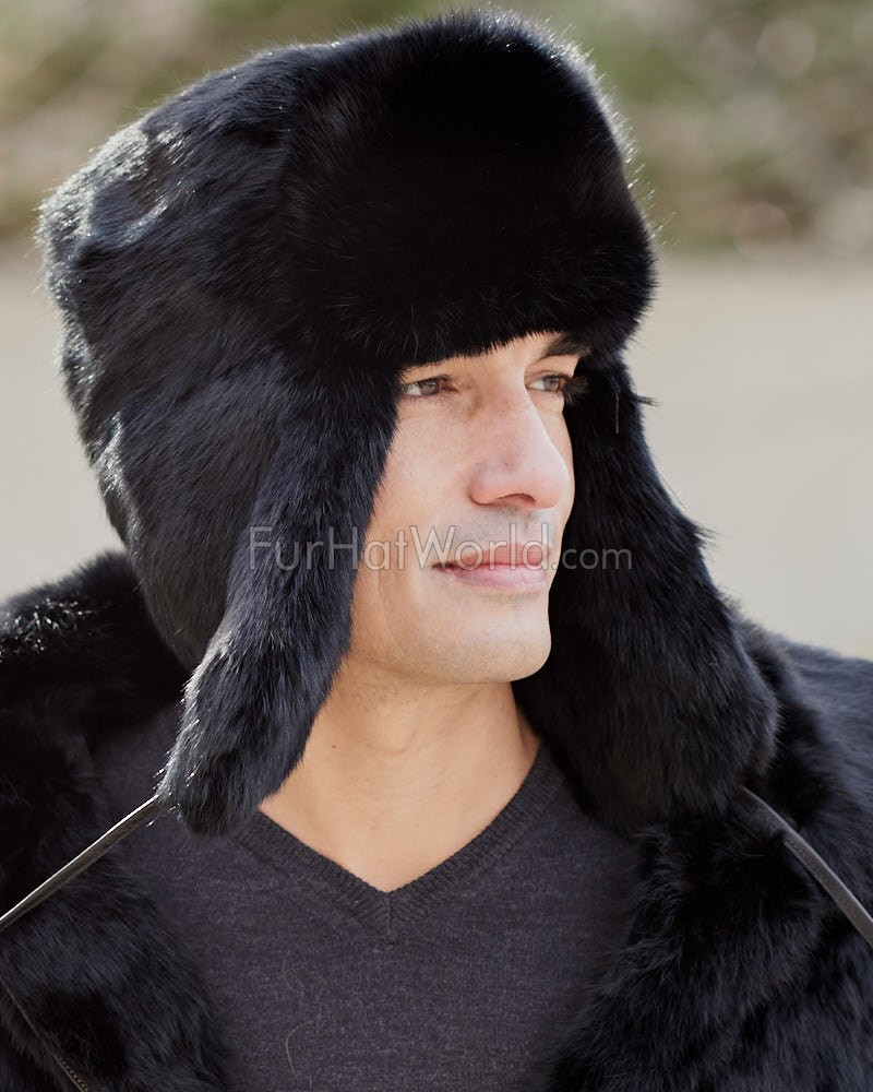 9acc0fc42a0 Black Rabbit Fur Russian Ushanka Hat for Men  FurHatWorld.com