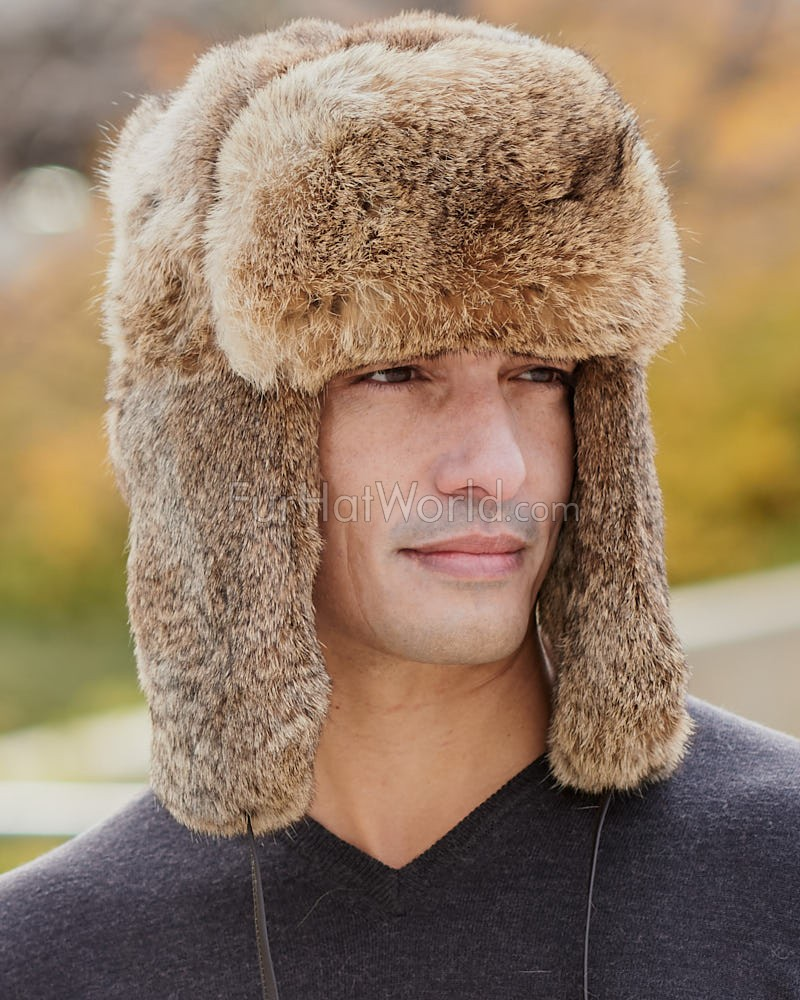Brown Rabbit Fur Russian Ushanka Hat for Men 70750f23a63b