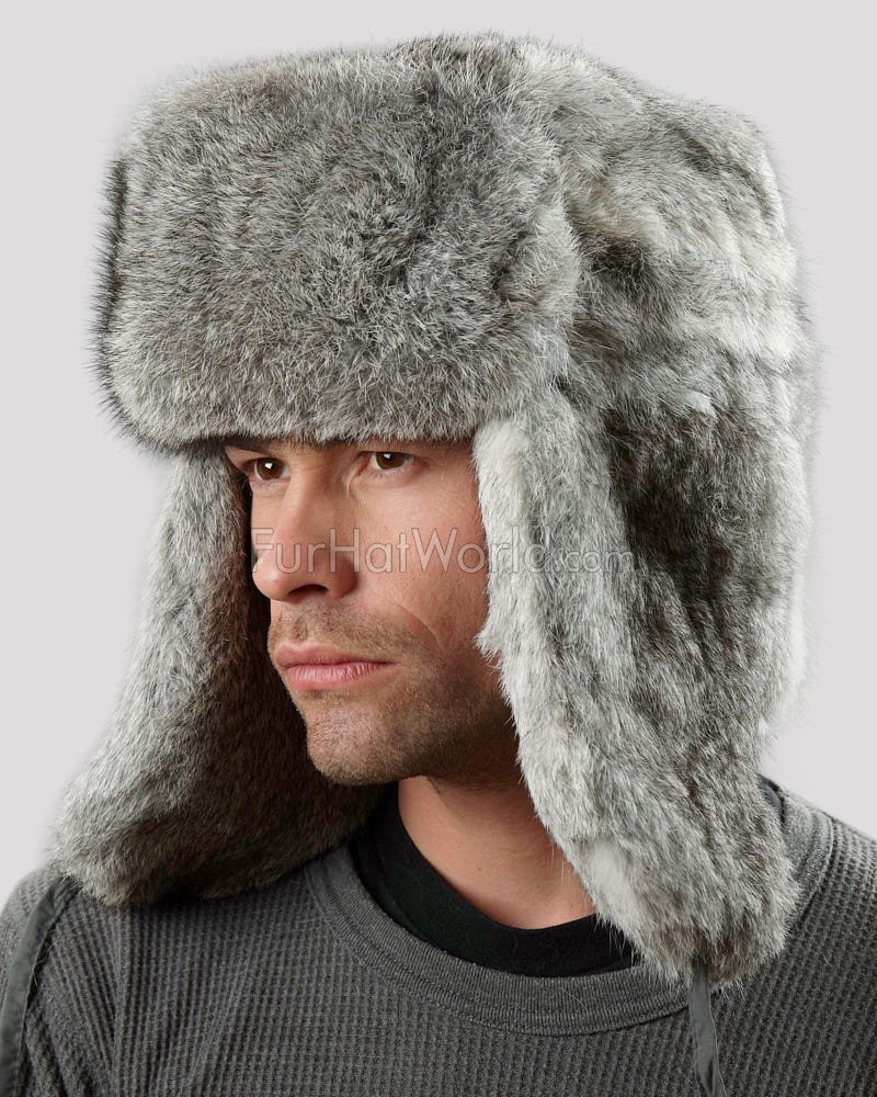 Rabbit Full Fur Russian Ushanka Hat - Gray