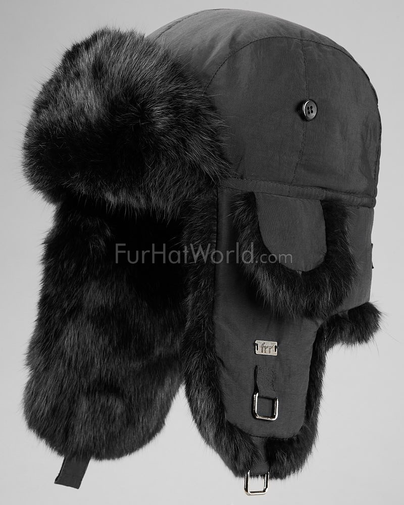 Black B-52 Aviator Hat with Black Rabbit Fur for Men