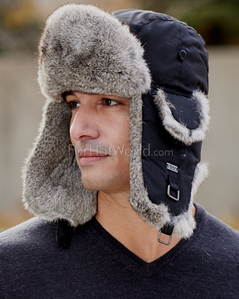 Black B-52 Aviator Hat with Grey Rabbit Fur for Men
