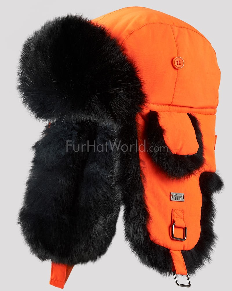 Blaze Orange B-52 Aviator Hat with Black Rabbit Fur