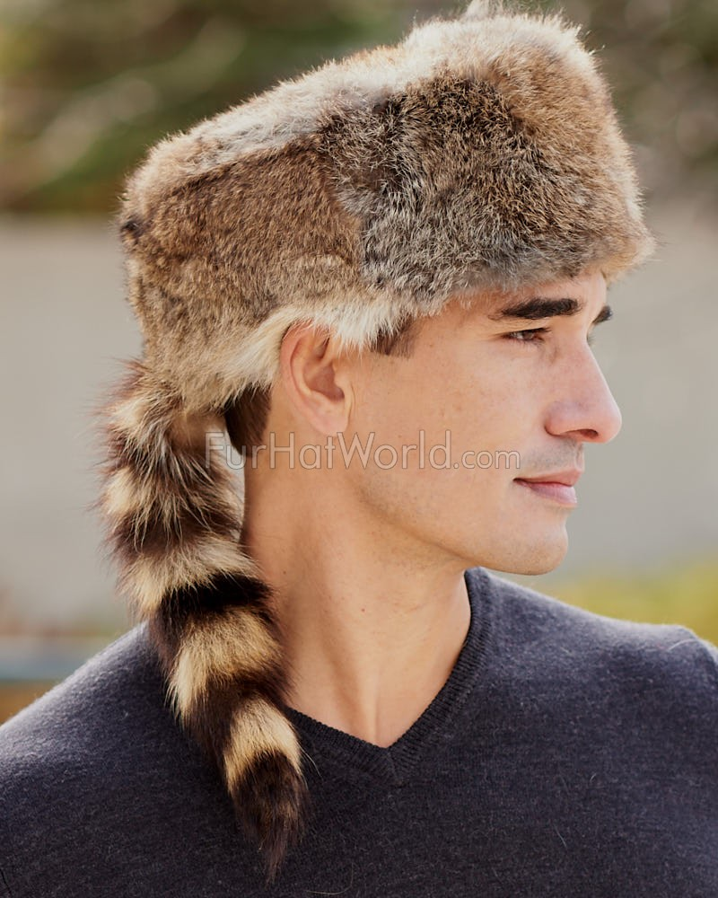Rabbit Fur Davy Crockett Hat for Men