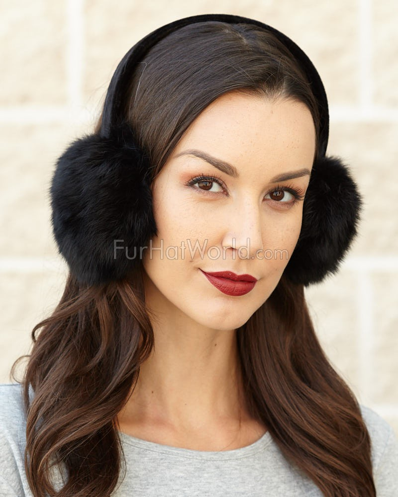 Rabbit Fur Earmuffs with Velvet band