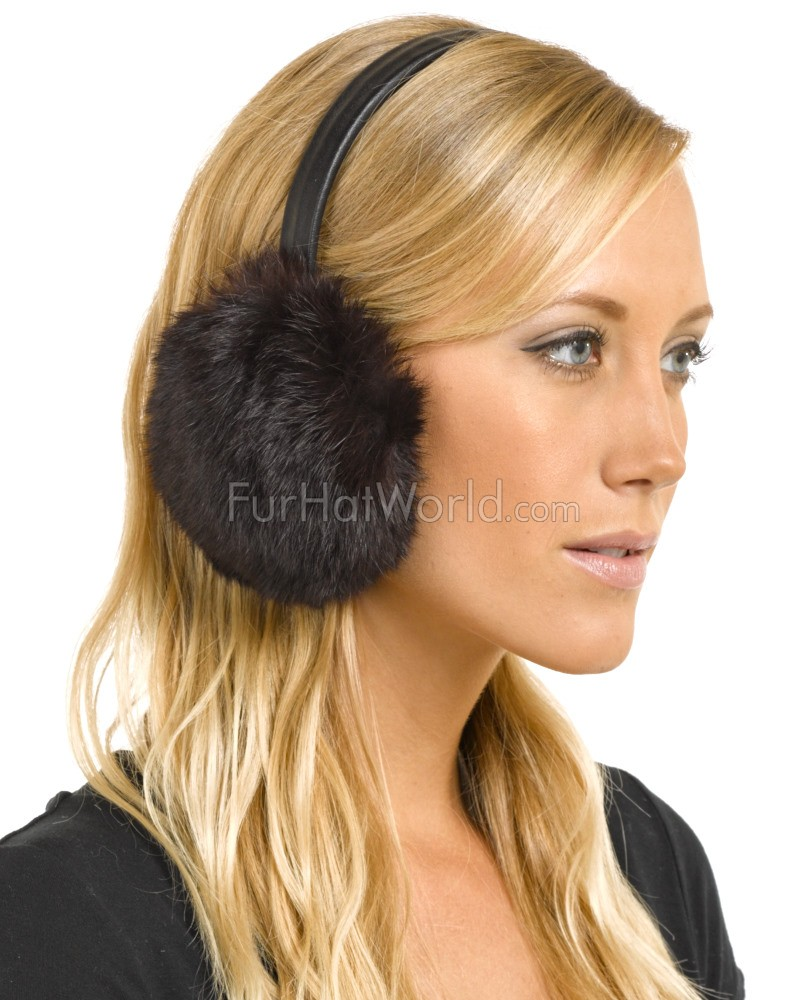Rabbit Fur Ear Muffs with Leather Band - Brown