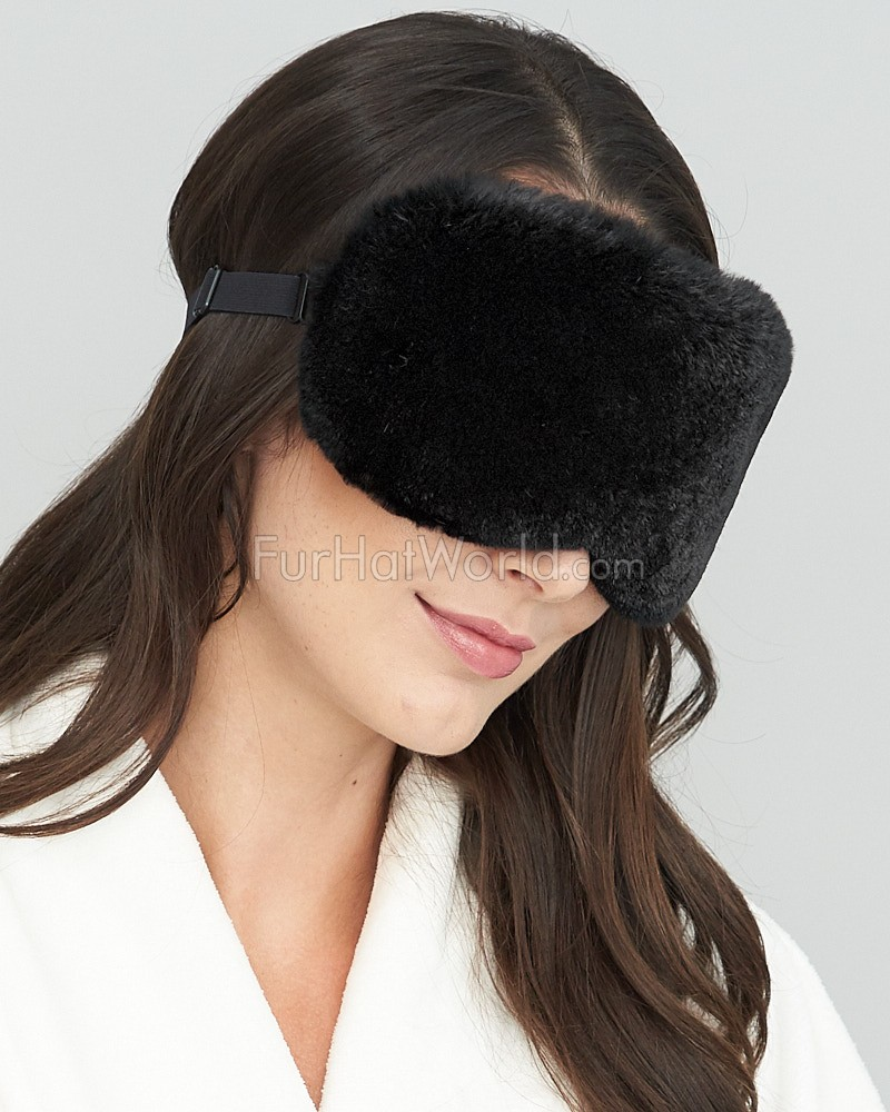 Rabbit Fur Eye Mask in Black