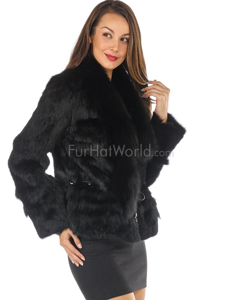 The Kylie Rabbit Fur Jacket with Fox Collar in Black: FurHatWorld.com