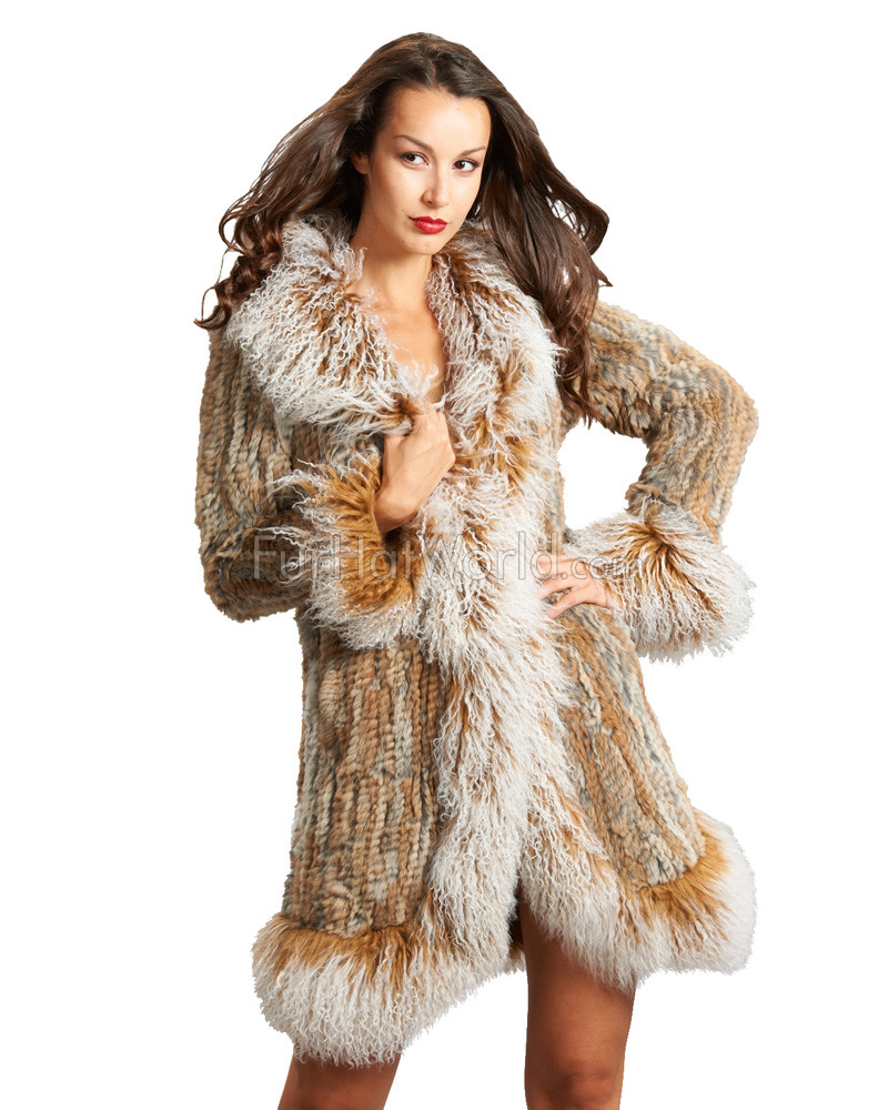 Rabbit Fur Knitted Coat with Tibetan Sheep Fur Trim