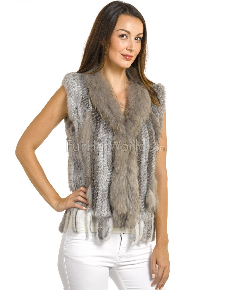 Rabbit Fur Knitted Vest with Raccoon Fur Trim - Grey