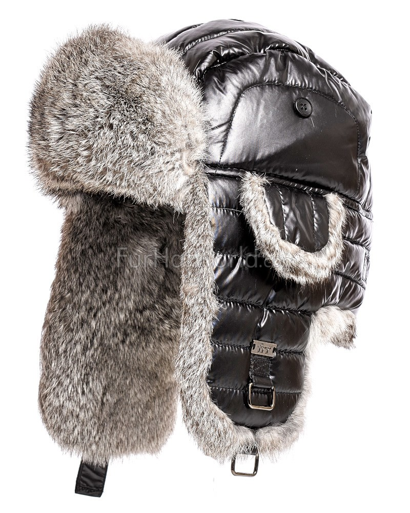 Rabbit Fur Metallic Puffer Hat - Black