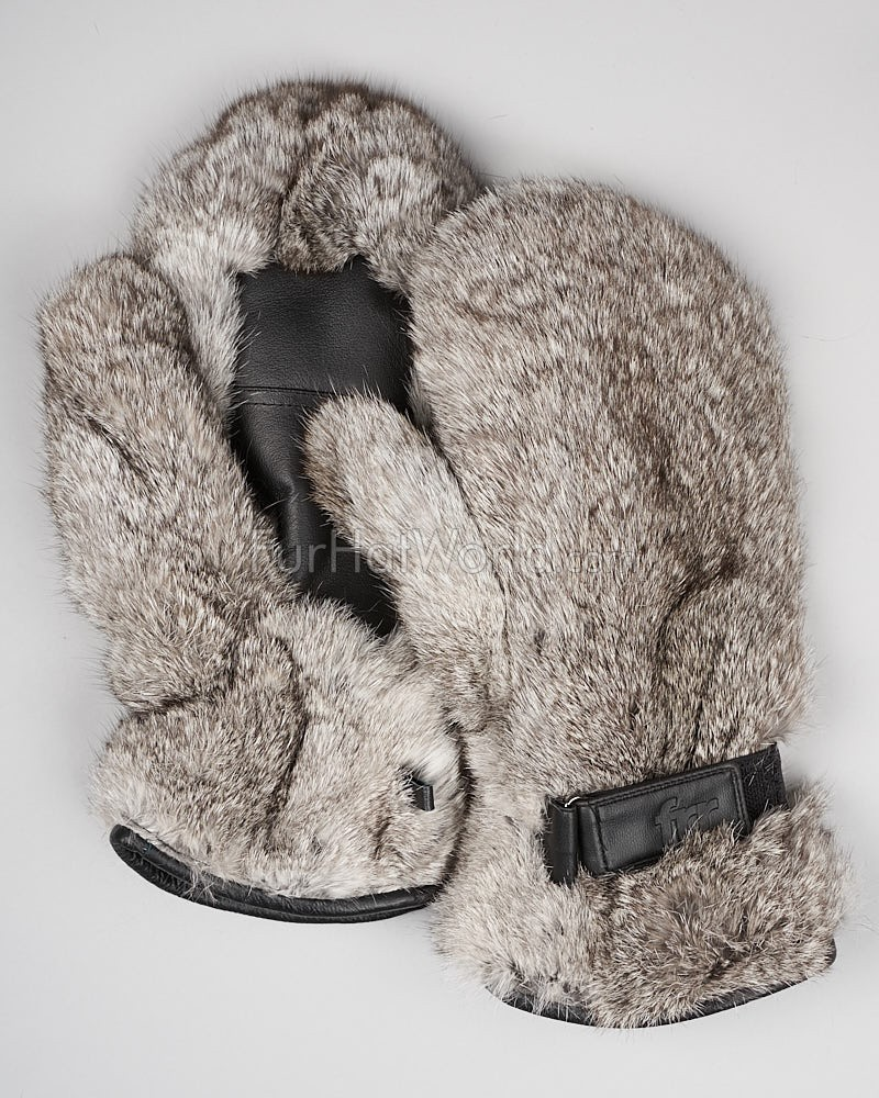 Men's Siberia Grey Rabbit Fur Mittens