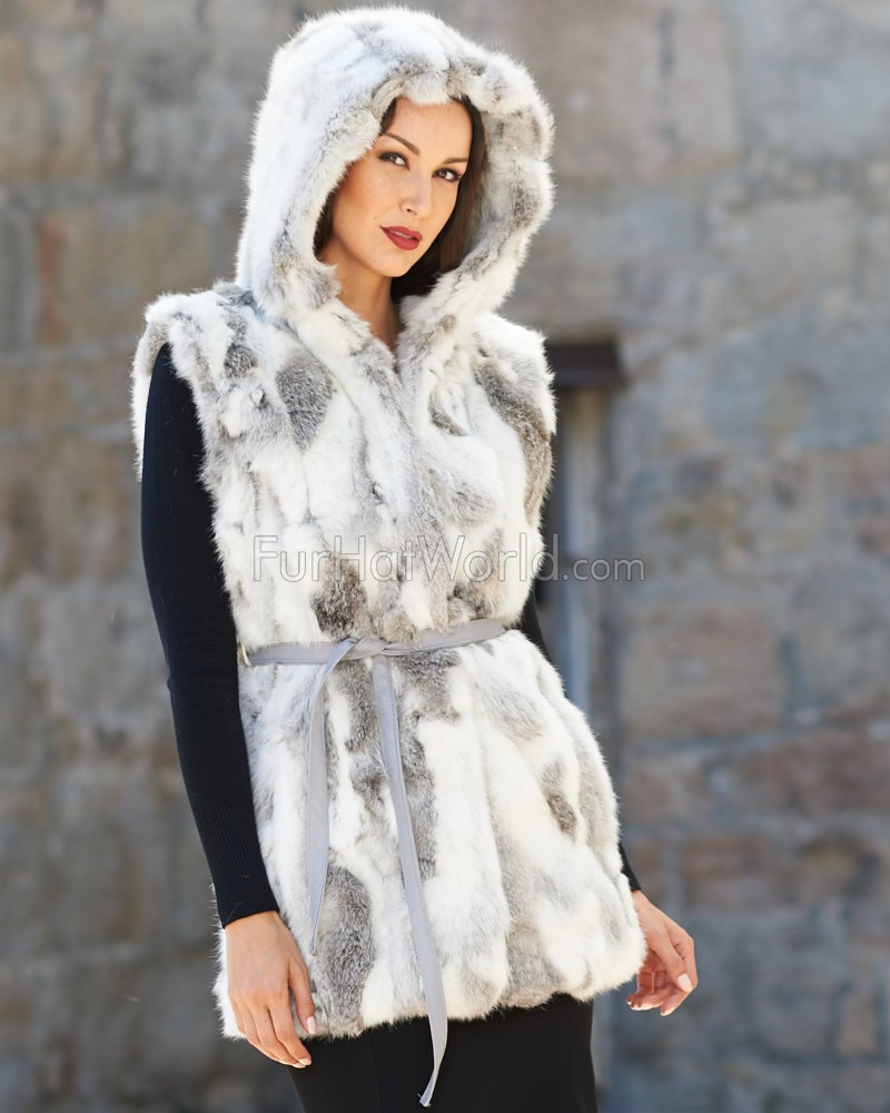 Rabbit Fur Vest with Hood - Chinchilla Grey