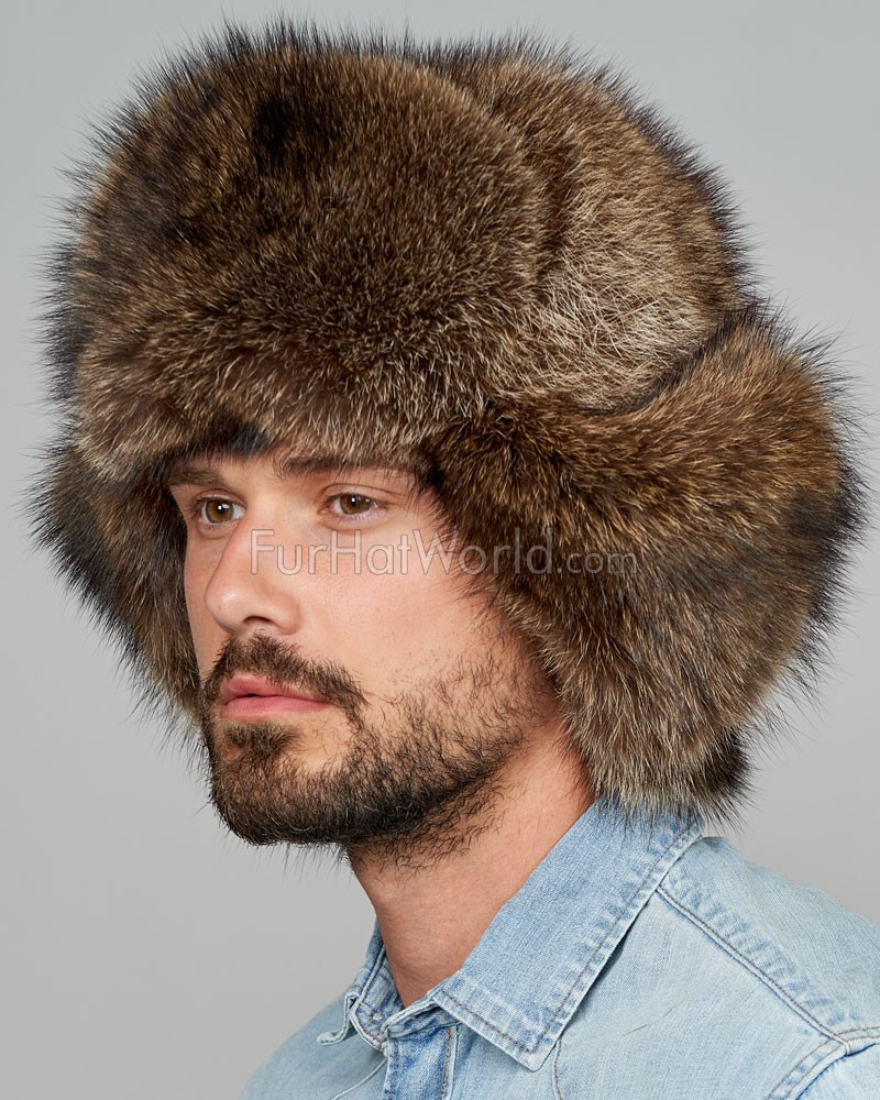 Raccoon Full Fur Russian Hat for Men