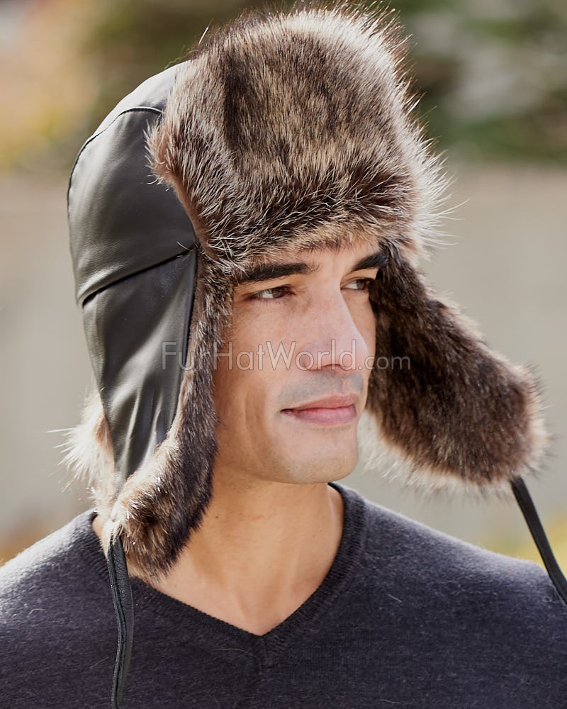 The Swiss Alps Raccoon Fur Trapper Hat
