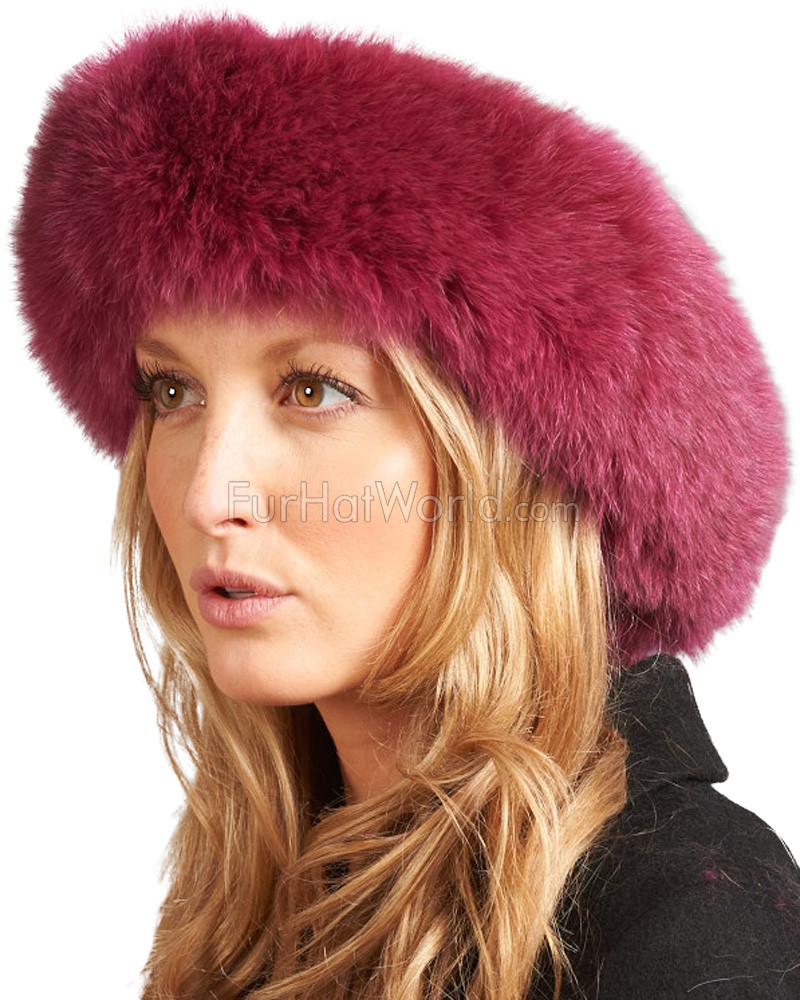 Raspberry Fox Fur Headband