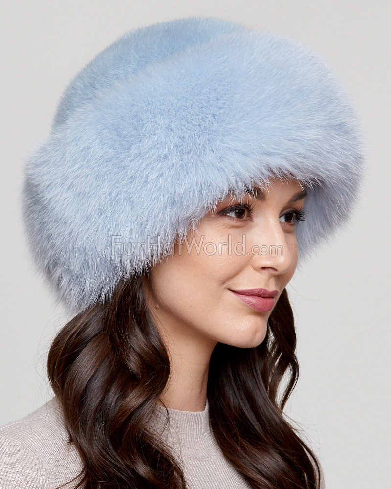 Raylene Baby Blue Fox Fur Roller Hat with Mink Top