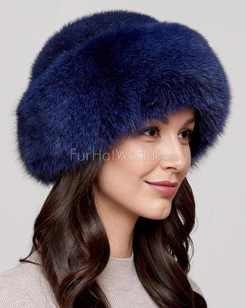 Raylene Navy Fox Fur Roller Hat with Mink Top