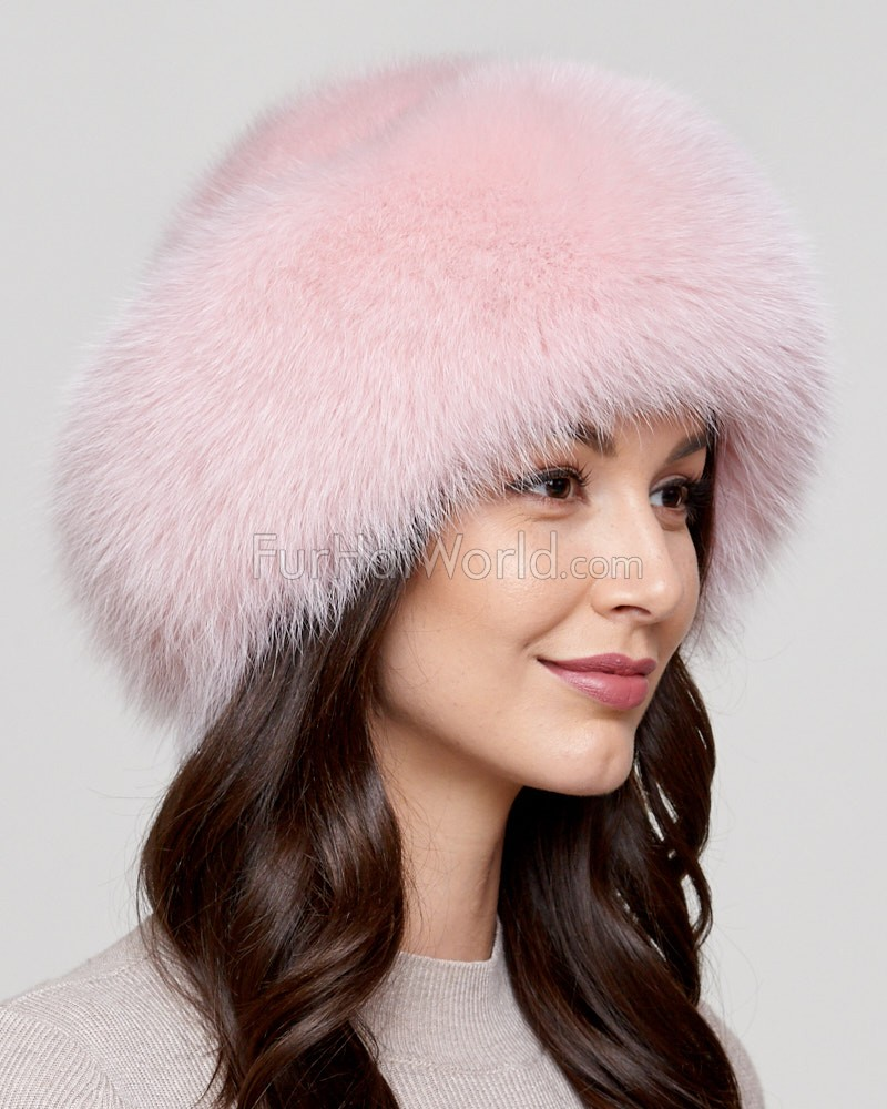Raylene Pink Fox Fur Roller Hat with Mink Top