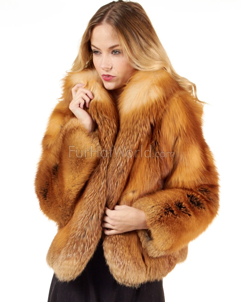 Red Fox Fur Bolero Jacket