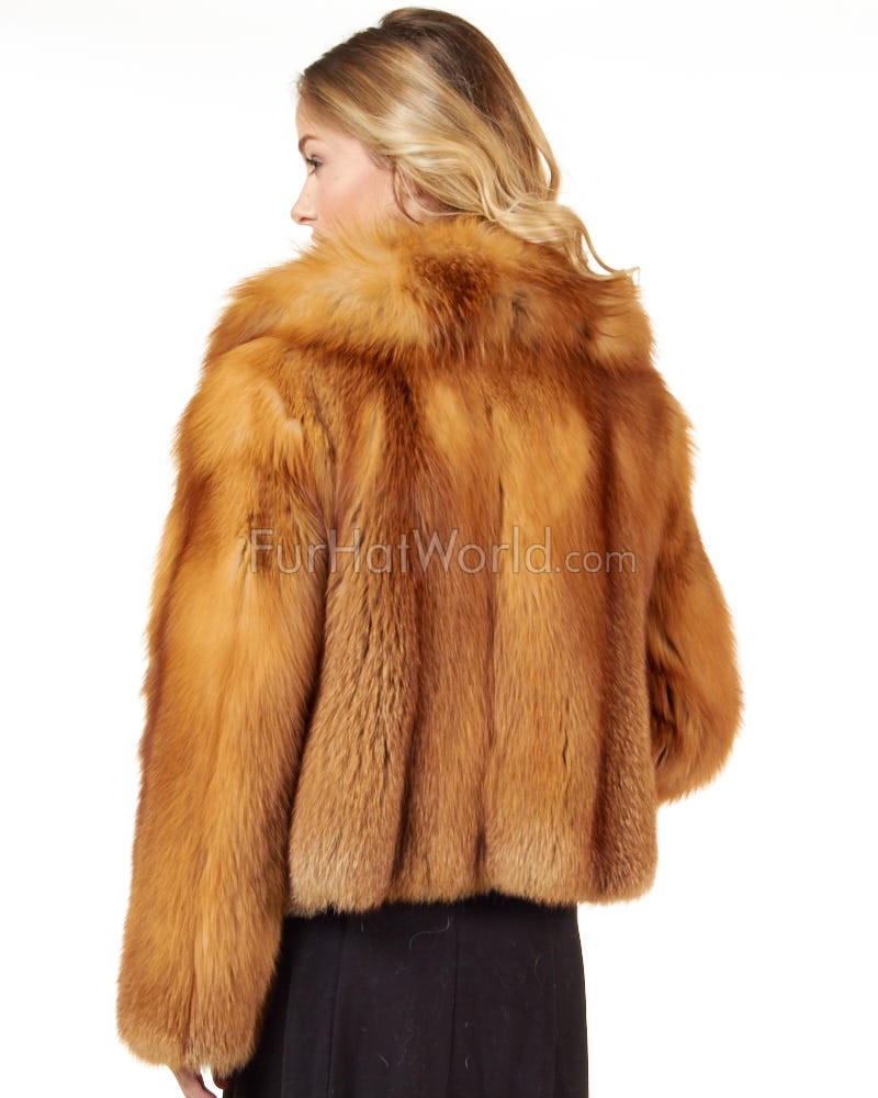 The Anabella Red Fox Fur Luxury Jacket: FurHatWorld.com