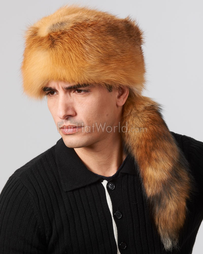 Coonskin Hat: Red Fox Fur Davy Crockett Hat: FurHatWorld.com