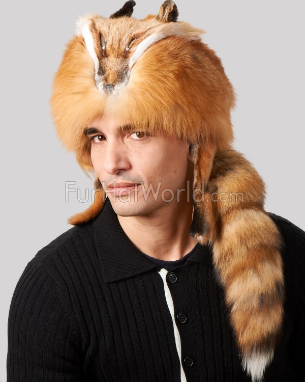 Coonskin Hat: Red Fox Fur Davy Crockett Hat With Face & Legs