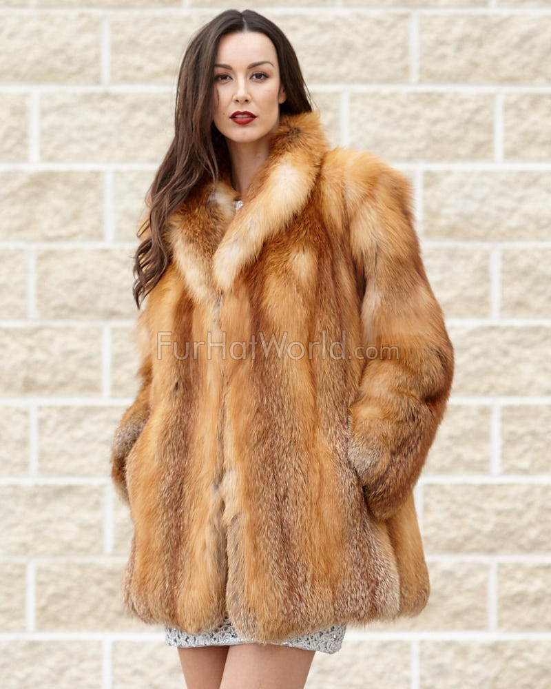 The Karina Red Fox Fur Jacket with Matching Collar