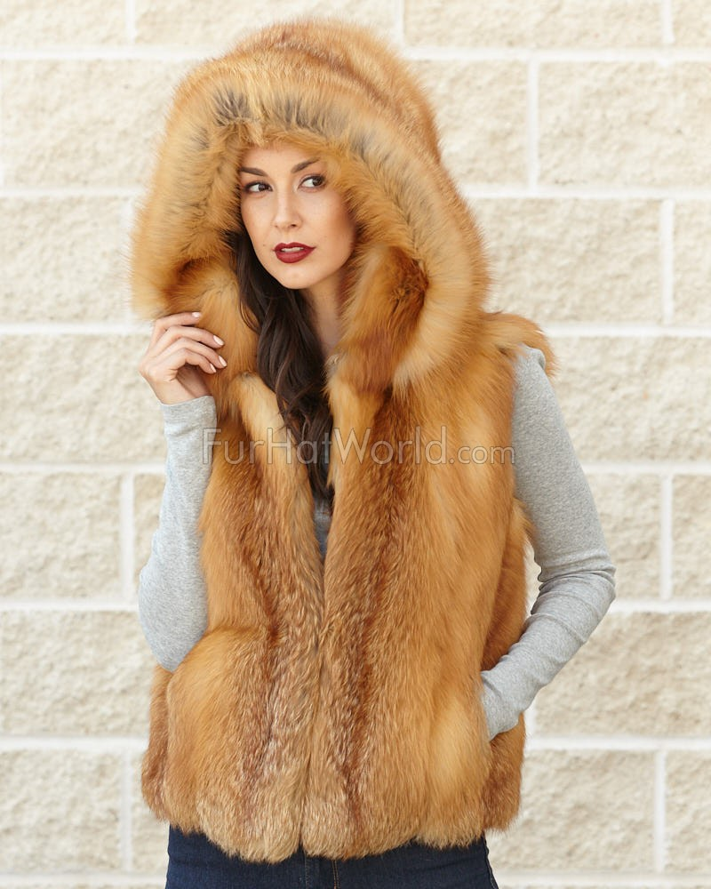 Brynn Red Fox Fur Vest with Collar