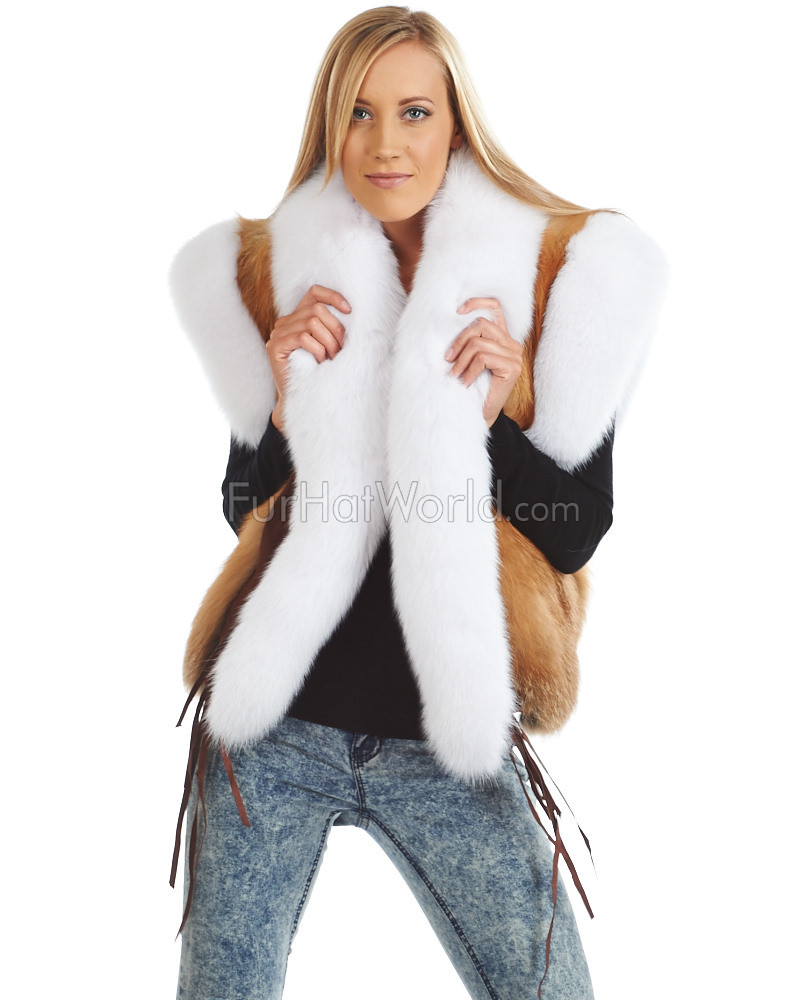 Ashlynn Red Fox Fur Vest with White Fox Tuxedo Trim