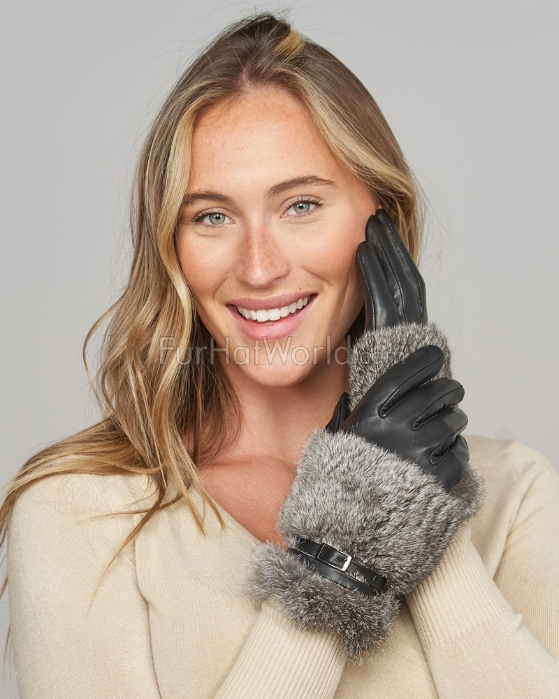 Renata Leather Gloves with Grey Rabbit Fur and Buckle Detail