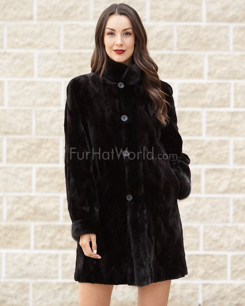 Chantal 3/4 Length Sheared Mink Coat with Long Hair Mink Trim