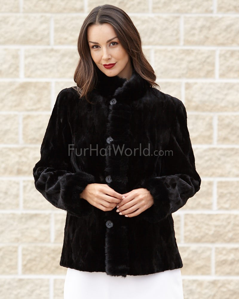 Carla Reversible Black Sheared Mink Jacket with Mink Trim
