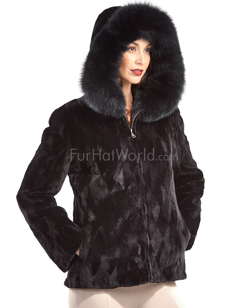 Dalia Reversible Sheared Mink Zip Front Jacket in Black