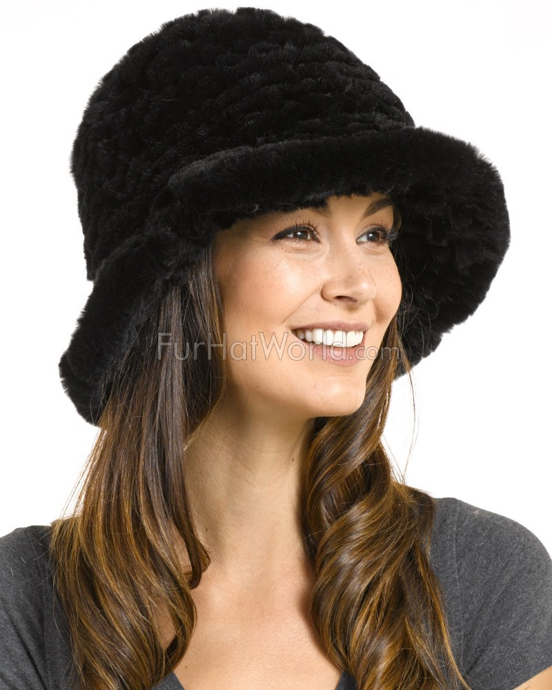 08487ba0fd2f9 Estelle Black Rex Rabbit Fur Bucket Hat  FurHatWorld.com