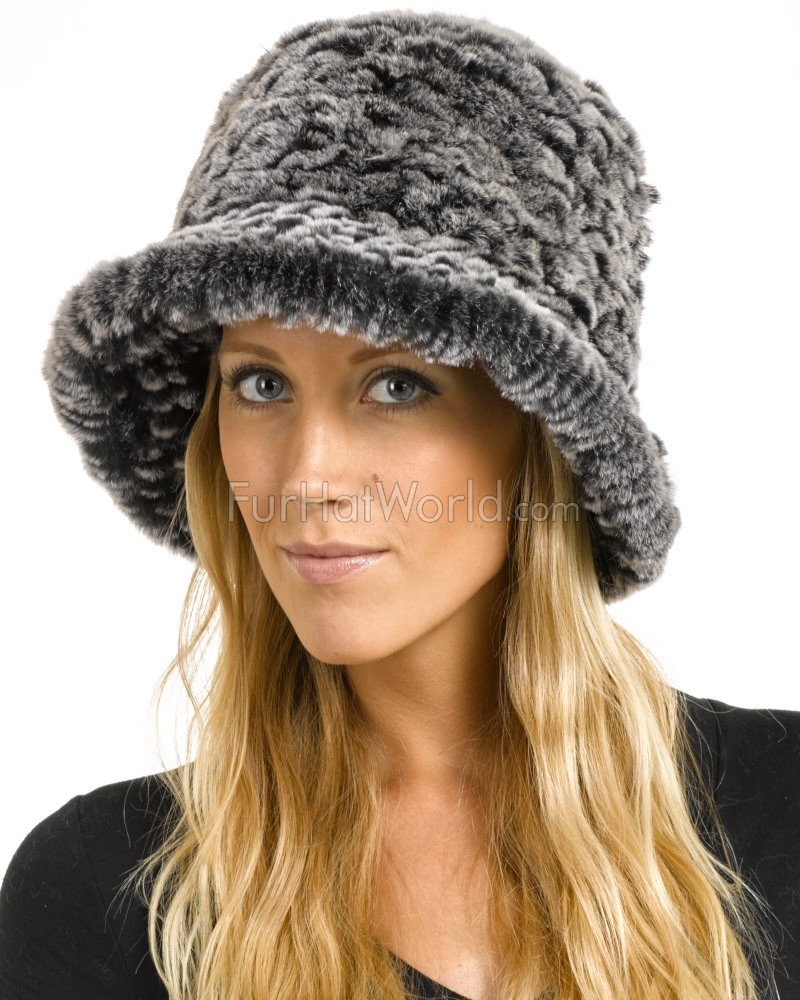 540cc6325e84a Estelle Black Frost Rex Rabbit Fur Bucket Hat  FurHatWorld.com