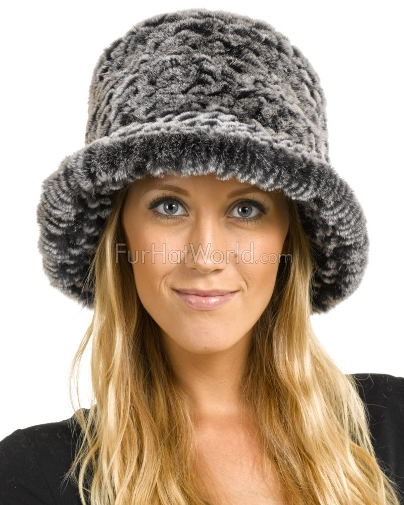 50e0b487e0213 Estelle Black Frost Rex Rabbit Fur Bucket Hat: FurHatWorld.com