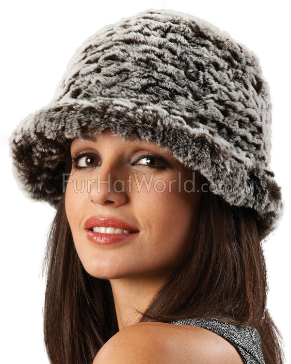 Rex Rabbit Fur Bucket Hat - Brown Frost