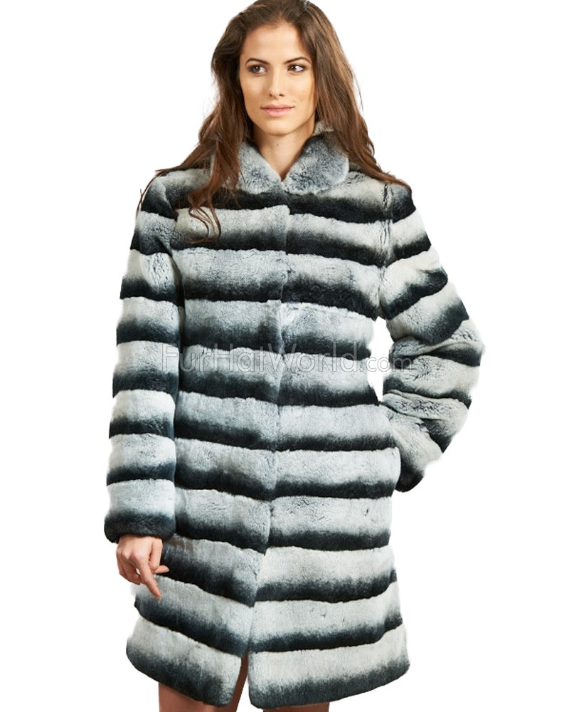 Rex Rabbit Fur Car Coat - Chinchilla Look