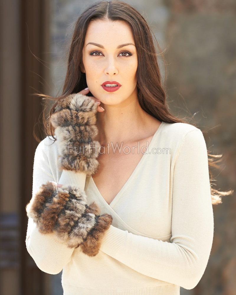 Elise Brown Frost Rex Rabbit Fur Cuffs