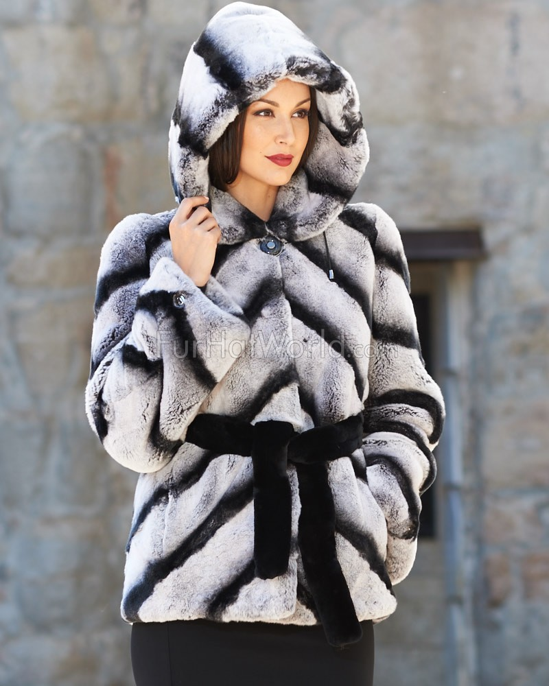 Rex Rabbit Fur Jacket with Belt - Chinchilla Print