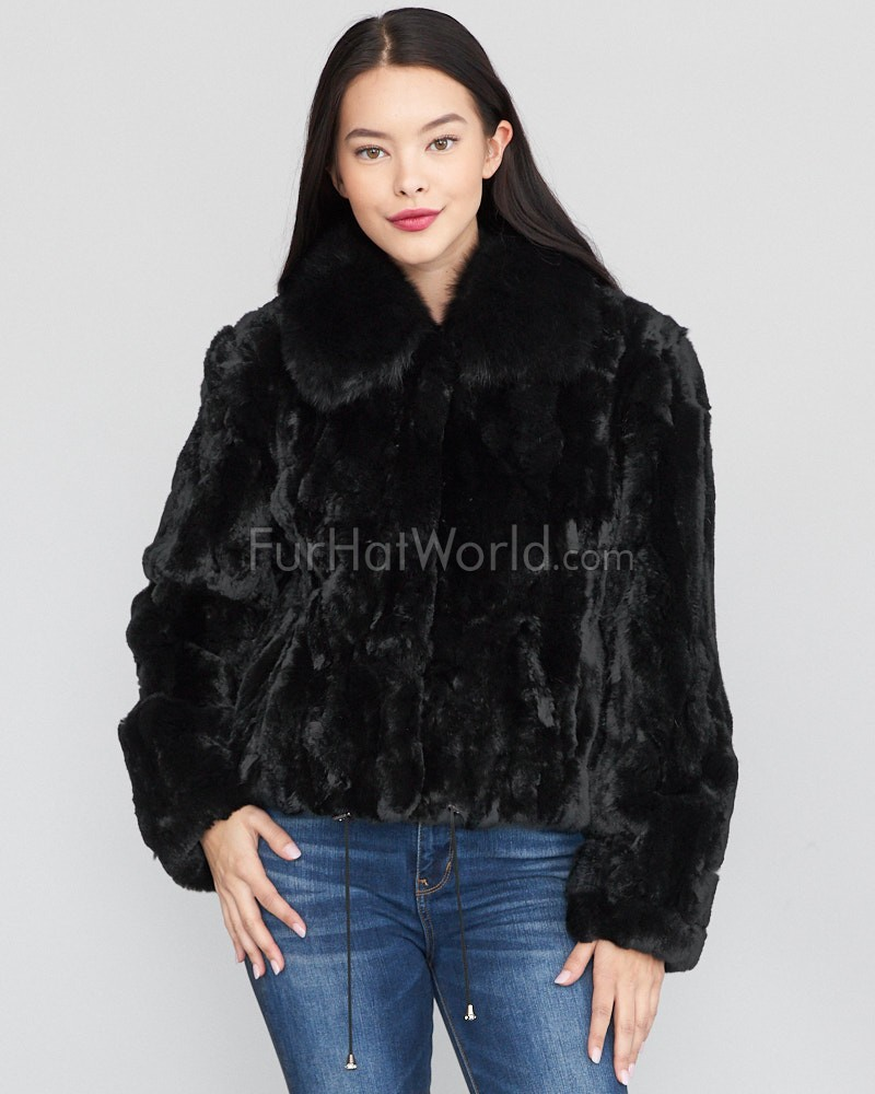 Salem Rex Rabbit Fur Bomber with Fox Collar in Black: FurHatWorld.com