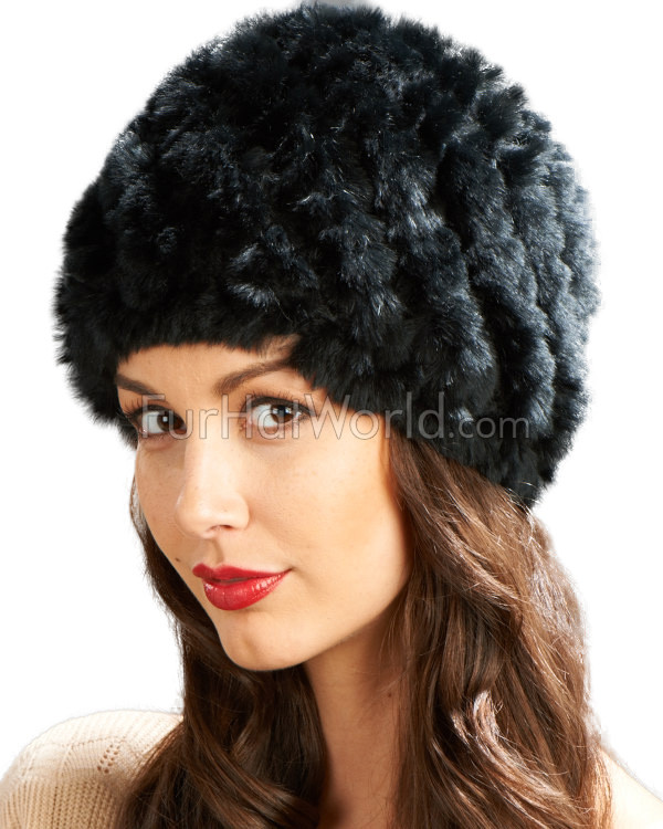 Rex Rabbit Fur Knit Bubble Hat - Black