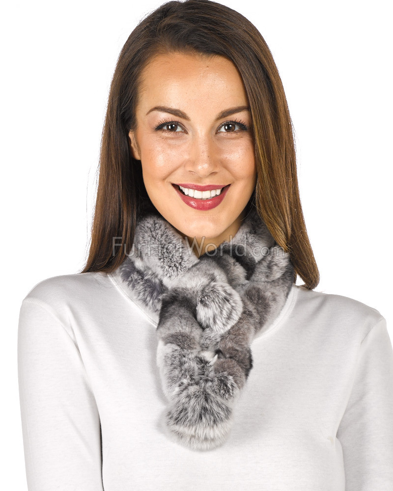 Rex Rabbit Fur Pom Pom Scarf - Chinchilla Grey
