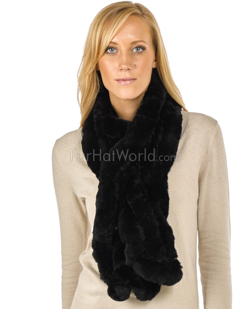 The Lucie Rex Rabbit Fur Scarf in Black