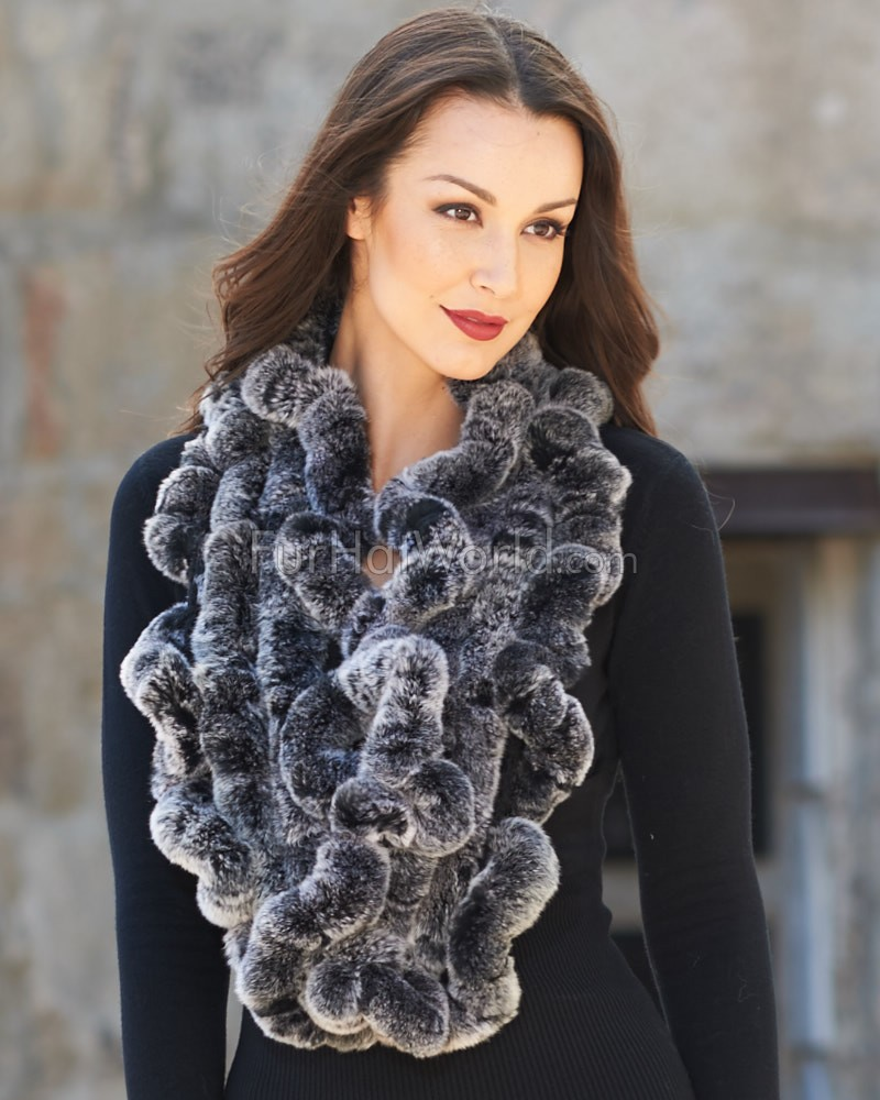 The Lucie Rex Rabbit Fur Scarf in Black Frost
