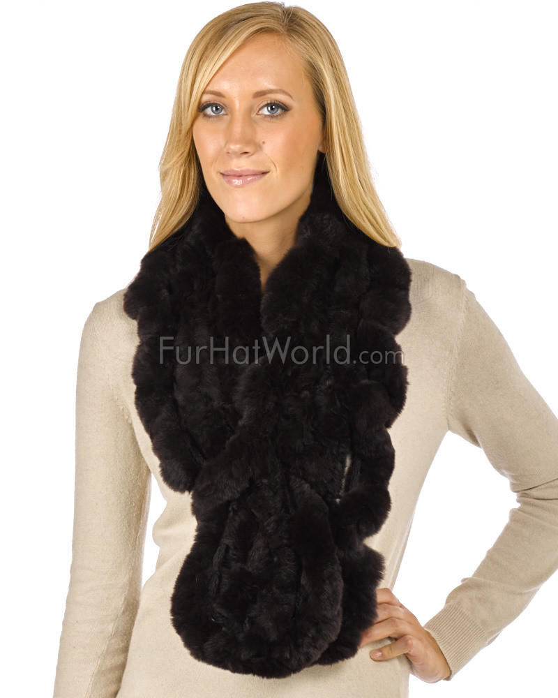 The Lucie Rex Rabbit Fur Scarf Brown