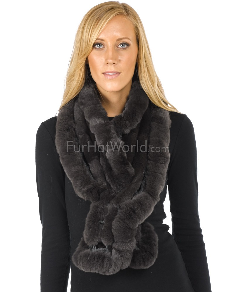 Rex Rabbit Fur Scarf - Grey